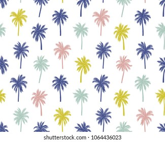 Vector illustration of a hand drawn palm trees. Seamless vector pattern with tropical palm trees.