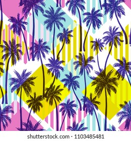 Vector illustration of a hand drawn palm trees. Seamless vector pattern with tropical palm trees on a geometric modern background.