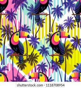 Vector illustration of a hand drawn palm trees. Seamless vector pattern with tropical palm trees and Toucans on a geometric modern background.