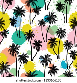 Vector illustration of a hand drawn palm trees. Seamless vector pattern with tropical palm trees on an ink blots modern background.