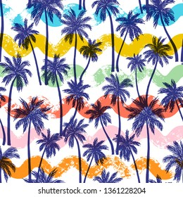 Vector illustration of a hand drawn palm trees. Seamless vector pattern with colorful waves.