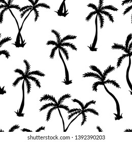 Vector illustration of a hand drawn palm trees. Seamless vector pattern with sihouette tropical palm trees