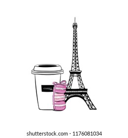 Vector illustration hand drawn Paris set cup of coffee with macaroons with bow ribbon for design. Paris Set with Eiffel Tower, Stack of macaron with pink ribbon and bow, macaroon cakes, sketch style
