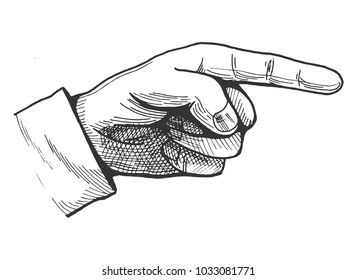 Vector illustration of a hand drawn pointing finger gesture showing direction. Vintage engraving style pointer.