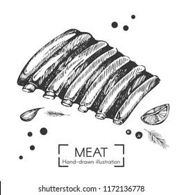Vector illustration with hand drawn pork ribs
