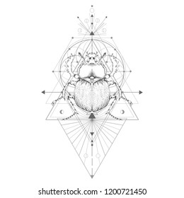 Vector illustration with hand drawn scarab and Sacred geometric symbol on white background. Abstract mystic sign. Black linear shape. For you design: tattoo, print, posters, t-shirts, textiles.