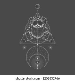 Vector illustration with hand drawn scarab and Sacred geometric symbol on black vintage background. Abstract mystic sign. White linear shape. For you design: tattoo, print, t-shirts, textiles and oth