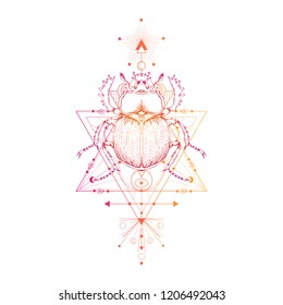 Vector illustration with hand drawn scarab and Sacred geometric symbol on white background and insect. Abstract mystic sign. Colored linear shape. For you design: tattoo, posters, t-shirts, textiles.