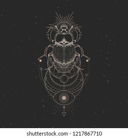 Vector illustration with hand drawn scarab and Sacred geometric symbol on black vintage background. Abstract mystic sign. For you design: tattoo, print, posters, t-shirts, textiles and other.