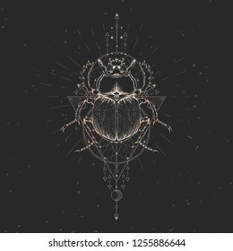 Vector illustration with hand drawn scarab and Sacred geometric symbol on black vintage background. Abstract mystic sign. Gold linear shape. For you design: tattoo, print, posters, t-shirts, textiles.