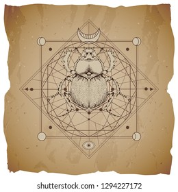Vector illustration with hand drawn scarab and Sacred geometric symbol on vintage paper background with torn edges. Abstract mystic sign. Sepia linear shape.