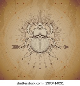Vector illustration with hand drawn Scarab and Sacred geometric symbol on vintage paper background. Abstract mystic sign. Sepia linear shape. For you design and magic craft.