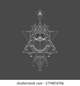 Vector illustration with hand drawn scarab and Sacred geometric symbol on black vintage background. Abstract mystic sign. White linear shape.