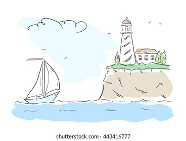 Vector illustration: Hand drawn scene with color yacht and lighthouse. Line design