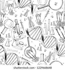 Vector illustration of Hand drawn seamless pattern of structure of DNA. genome sequence. Health and biochemistry laboratory of nanotechnology. Molecule helix of dna, genome or gene evolution. Doodle e