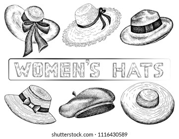 Vector illustration of hand drawn set of sketch women's hats. Vintage and retro style. Female Fashion. Shopping, shop, store.