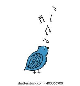 Vector Illustration of a Hand Drawn Singing Blue Bird