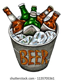 Vector illustration of hand drawn sketch colorful  bucket with beer and ice. Oktoberfest, festival, pub, bottle, drinks. Vintage and retro style.