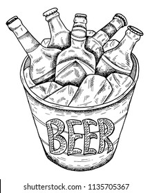 Vector illustration of hand drawn sketch   bucket with beer and ice. Oktoberfest, festival, pub, bottle, drinks. Vintage and retro style.