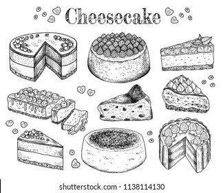 Vector illustration of hand drawn sketch cheesecakes. Food, tasty dessert, slice, piece, cake with cheese. Cheesecake with berries and fruits. Doodle sweet bakery products. Vintage background. Menu.