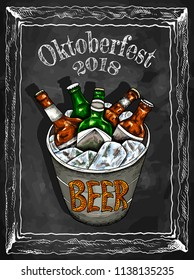 Vector illustration of hand drawn sketch colorful  bucket with beer and ice. Oktoberfest, festival, pub, bottle, drinks. Vintage and retro style. Oktoberfest 2018. Germany.