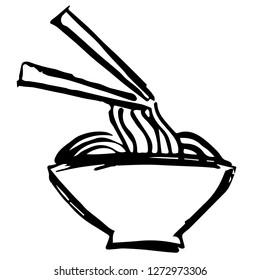 Vector Illustration of Hand Drawn Sketch of Noodles or Ramen Icon on Isolated Background