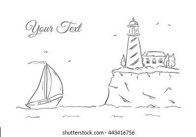 Vector illustration: Hand drawn sketch with yacht and lighthouse. Line design