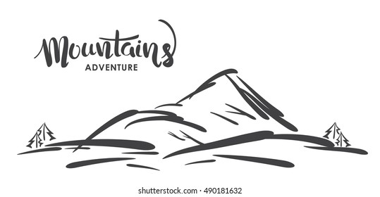 Vector illustration: Hand drawn sketch of mountain landscape  with handwritten modern lettering of Mountains