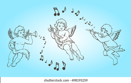 Vector illustration. Hand drawn sketch of 3 little angels with different music instruments