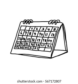 vector illustration hand drawn sketch of desk spiral calendar isolated on white background