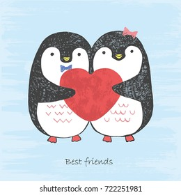 Vector illustration of hand drawn sketch loving penguins with scratched heart in their hands isolated on a blue grunge background. Boy and girl winter north pole birds. Best friends