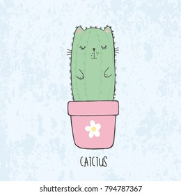 Vector illustration of hand drawn sketch cute kawaii cat cactus in a flowerpot with flower in anime style with lettering catctus