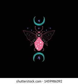 Vector illustration with hand drawn space magic beetle. Sacred Moon symbol, abstract art