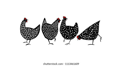 Vector illustration of hand drawn speckled hens. Beautiful ink drawing, abstract design elements. Perfect elements for food or farming design.