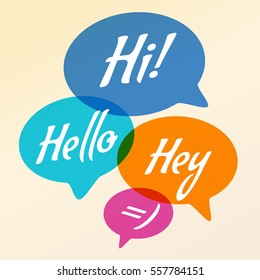 Vector illustration - Hand drawn speech bubble. Set with text (hi, hello, hey). Speech bubble colorful set.