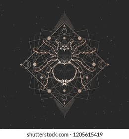 4ed4949eb Vector illustration with hand drawn spider and Sacred geometric symbol on  black vintage background. Abstract