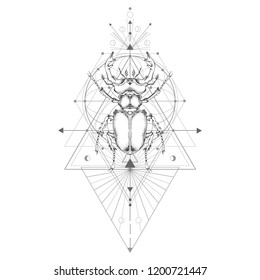Vector illustration with hand drawn stag beetle and Sacred geometric symbol on white background. Abstract mystic sign. Black linear shape. For you design: tattoo, print, posters, t-shirts, textiles.