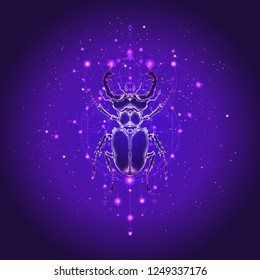 Vector illustration with hand drawn stag beetle and Sacred geometric symbol against the starry sky. Abstract mystic sign. Linear shape. For you design: tattoo, print, posters, t-shirts, textiles.