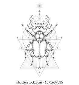 Vector illustration with hand drawn stag beetle and Sacred geometric symbol on white background. Abstract mystic sign. Black linear shape. For you design and magic craft.