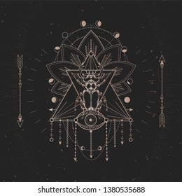 Vector illustration with hand drawn Stag beetle and Sacred geometric symbol on black vintage background. Abstract mystic sign. Gold linear shape. For you design and magic craft.