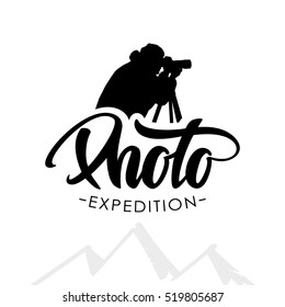 Vector illustration: Hand drawn template emblem with handwritten lettering of Photo and silhouette of photographer isolated on white background.