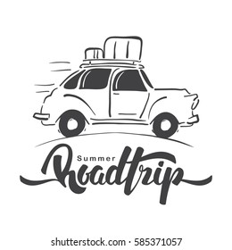 Vector illustration: Hand drawn travel retro car with luggage on the roof and handwritten lettering of Road Trip. Sketch line design.