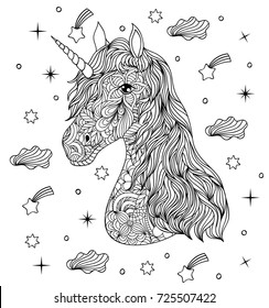 Vector illustration of hand drawn unicorn on white background. Coloring page for adult.