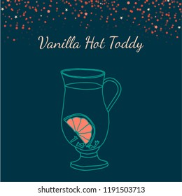 Vector illustration with hand drawn Vanilla Hot Toddy icon