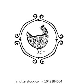 Vector illustration of hand drawn vintage chicken emblem. Beautiful ink drawing, heavy contour, abstract design elements. Perfect elements for food or farming design.