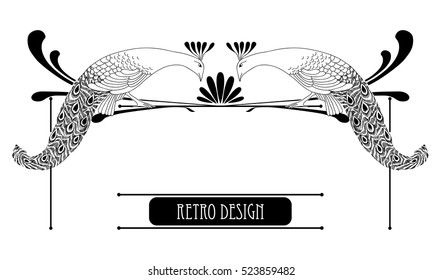 Vector illustration of hand drawn vintage peacock with lines isolated on white background. Horizontal vignette in Art Nouveau or Modern style for decoration. Retro design with bird in line art decor.