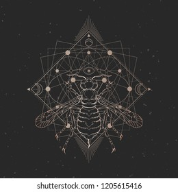 Vector illustration with hand drawn wasp and Sacred geometric symbol on black vintage background. Abstract mystic sign. Gold linear shape. For you design: tattoo, print, posters, t-shirts, textiles