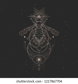Vector illustration with hand drawn wasp and Sacred geometric symbol on black vintage background. Abstract mystic sign. Gold linear shape. For you design.