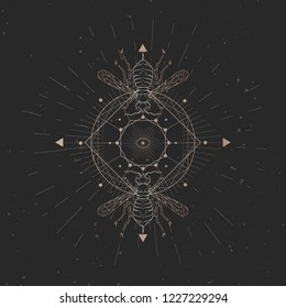 Vector illustration with hand drawn wasp and Sacred geometric symbol on black vintage background. Abstract mystic sign. Gold linear shape. For you design: tattoo, print, posters, t-shirts, textiles.
