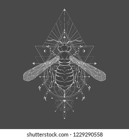 Vector illustration with hand drawn wasp and Sacred geometric symbol on black vintage background. Abstract mystic sign sign. White linear shape. For you design: tattoo, print, posters, t-shirts.
